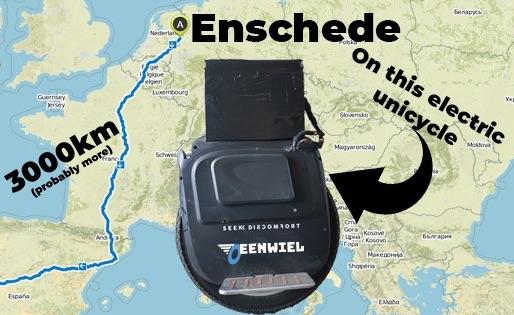 Van Enschede naar Lissabon op een elektrische eenwieler