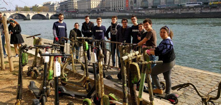 Franse magneetvissers halen deelsteps uit de Seine