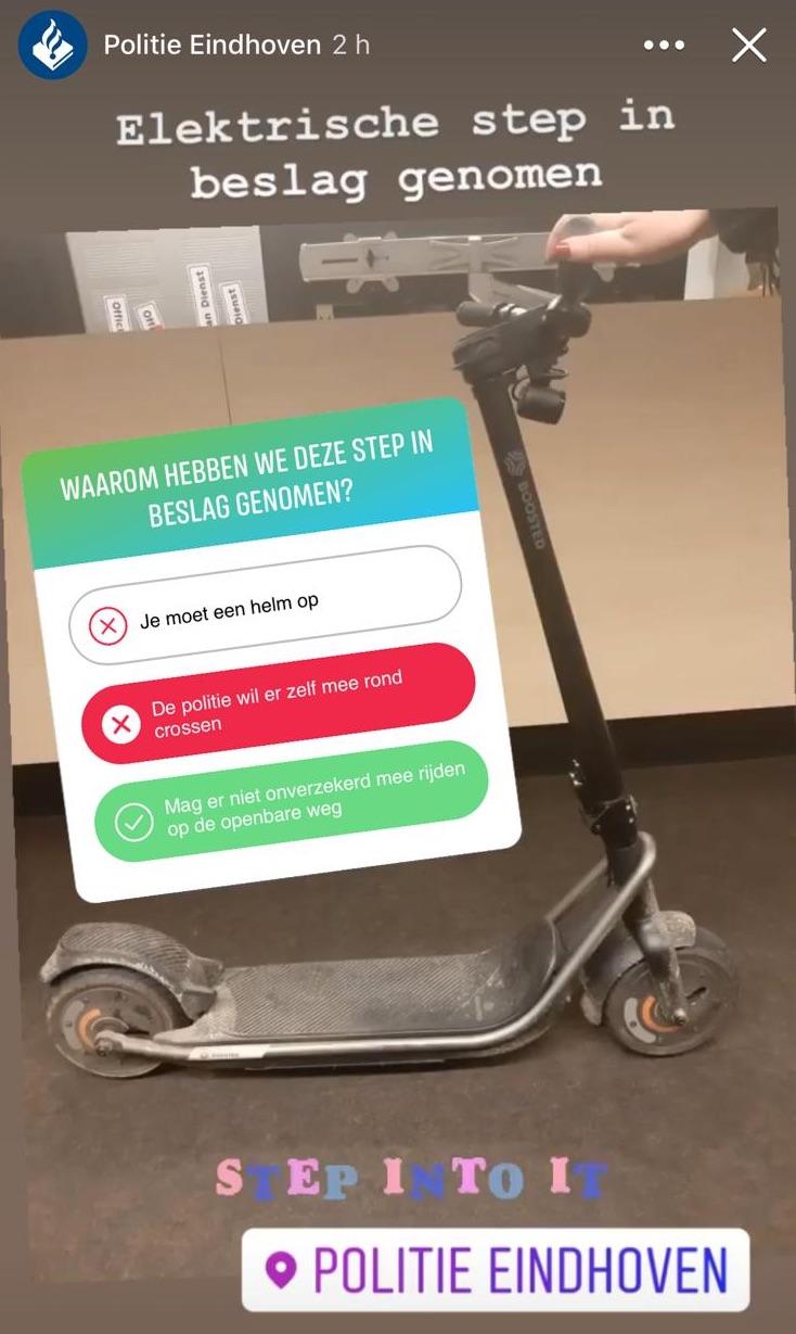 Politie Eindhoven toont Boosted REV als oorlogsbuit op Instagram en Facebook