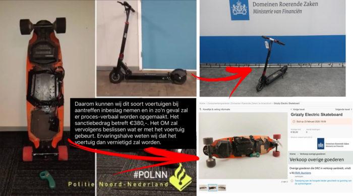 Openbaar Ministerie veilt vernietigde elektrische skateboards en e-steps stiekem via de achterdeur