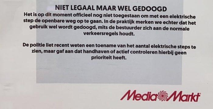 Mediamarkt: e-step is niet legaal maar het gebruik wordt gedoogd