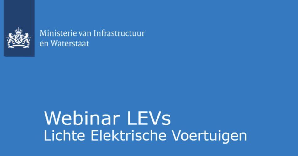 Webinar over LEVs van ministerie van I&W was informatief