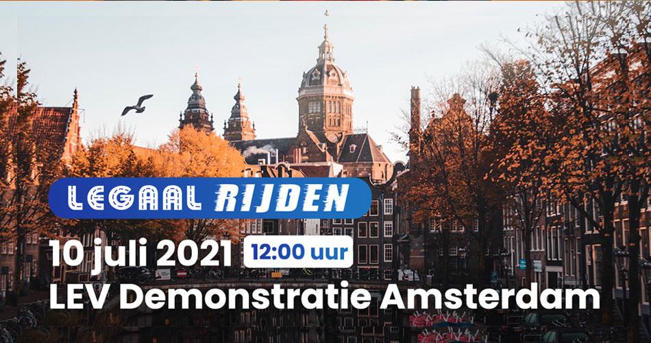 Legaalrijden LEV demonstratie 10 juli in Amsterdam
