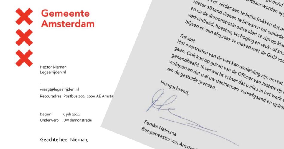 Post van de burgemeester van Amsterdam over onze demonstratie