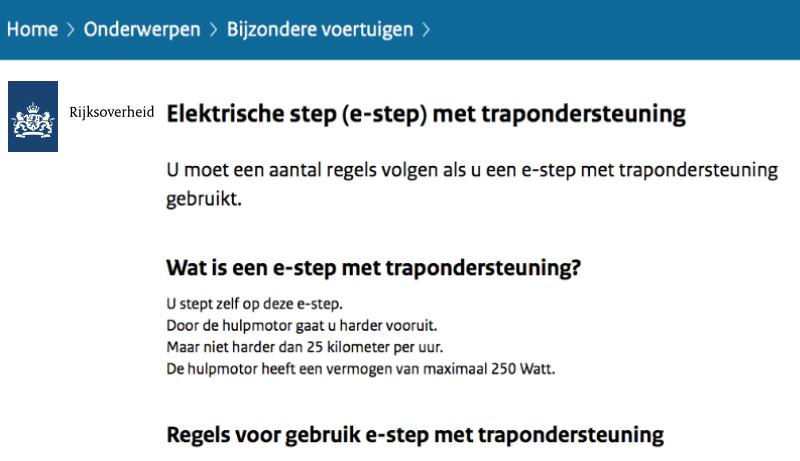 Rijksoverheid: E-step met trapondersteuning is toegestaan op de openbare weg